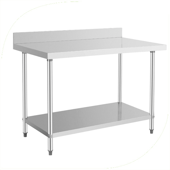Work table With Under Shelf & Backsplash